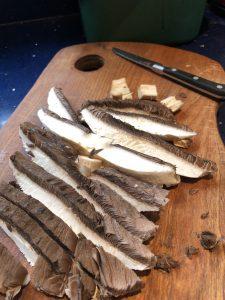 Large mushroom sliced